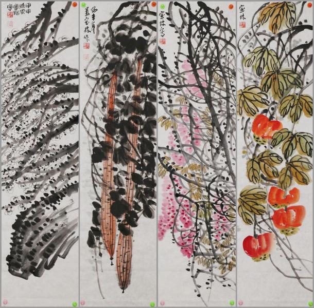 杭州画院院长【姜宝林】花卉四条屏