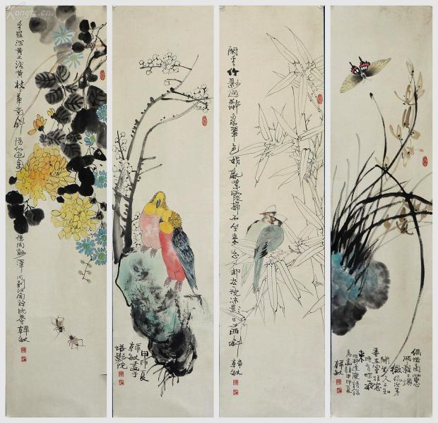 上海书画研究院院长。上海市美术家协会理事、上海文史馆馆员。《韩敏》花鸟四条屏