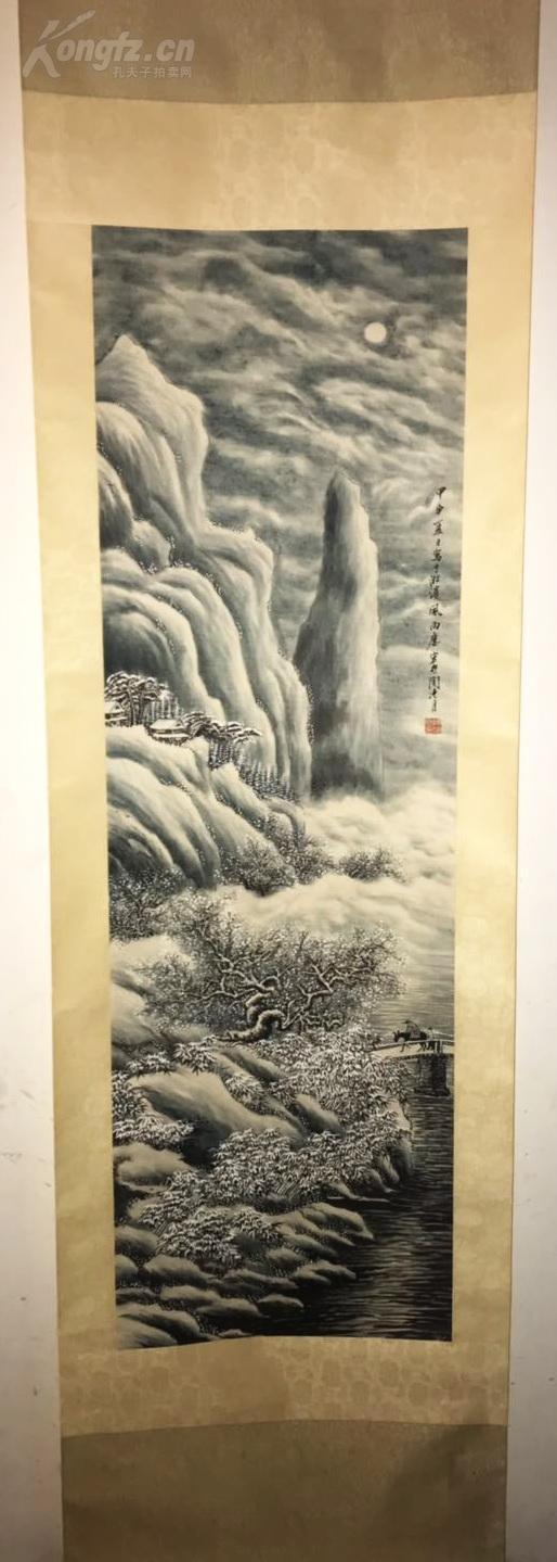 海派名家,中西融合派的杰出画家 『陶冷月』﹡﹡﹡雪景山水图   真迹