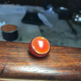 玛瑙 算盘珠子 嫩红冻眼  1.8X1.5厘米
