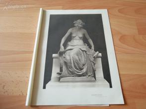 1898年照相凹版《雕塑作品--洞悉》(knowledge)--EDWARD ONSLOW FORD R.A. (1852-1901)---选自当年艺术日志--纸张32*24厘米