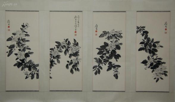 【康生】前中共中央领导人之一  精于文物收藏与鉴赏  花卉四屏