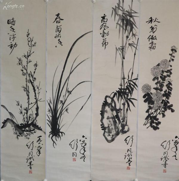舒同 書法家、政治家,中國書法家協會主席。包老包手繪。花卉 四條屏