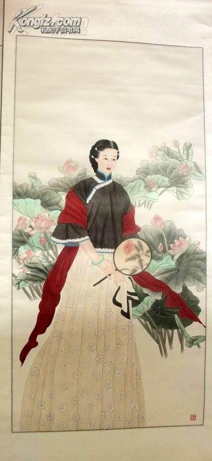 【100%工筆手繪】中國美術家協會理事,中國美術家協會會員【王美芳】仕女圖,大家閨秀,氣質非凡。原裝裱,分量很重。