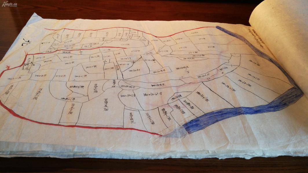 ??手繪孤本??清朝或更早期白棉紙手繪地圖孤本一大冊,????40X28CM大張計15張。