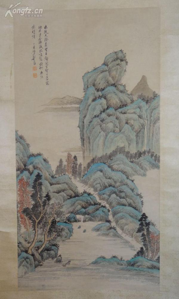 【海外回流】 民國畫家  鄭午昌  大幅山水   原裝裱 包手繪