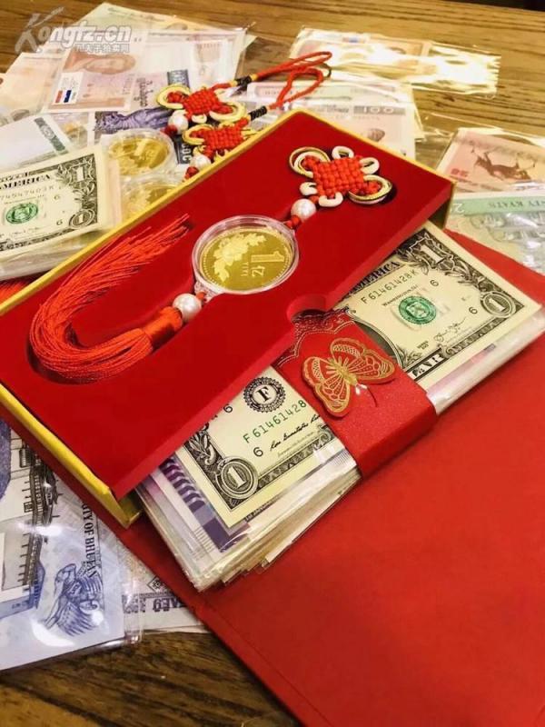 ??新年贺礼??一亿陪伴财源不断??1亿纪念币+50张外国钱币真币+精装礼盒??压岁送人,财源滚滚??