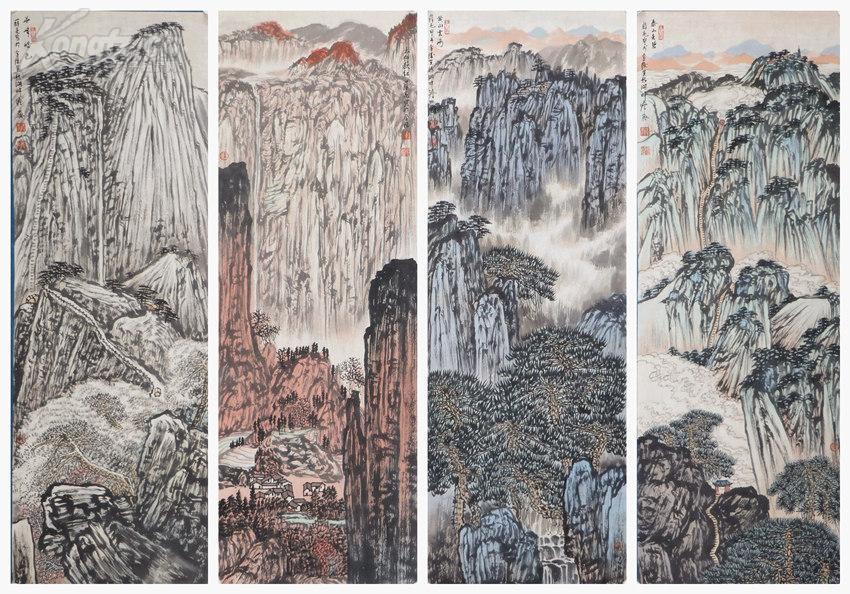 当代著名画家,国家一级美术师,江苏省国画院副院长     薛亮     山水四条屏