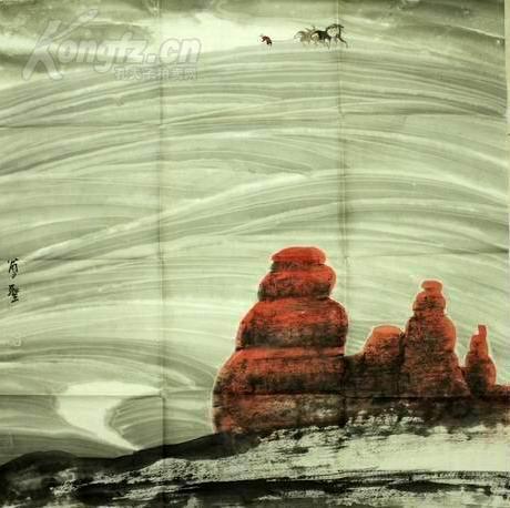 當代著名畫家------周尊圣----大漠黃昏-----4平尺------