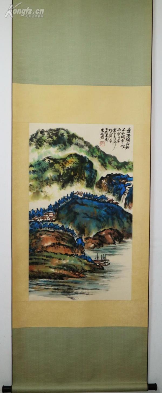 近現代海派著名壽星畫家 朱屺瞻一 山水立軸    他的作品融會中西,致力創新,所作筆墨雄勁,氣勢磅礴,具有鮮明的民族特色和個人風格。 真跡