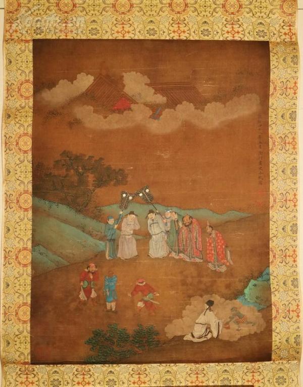 清代著名畫家,內廷供奉 冷枚  絹本人物圖  精裝舊裱 鏡片 人物富貴工麗妍雅 不可多得之佳作 包老到代