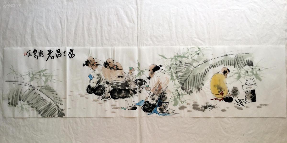 【文人水墨人物画】--高士品茗      书画真迹