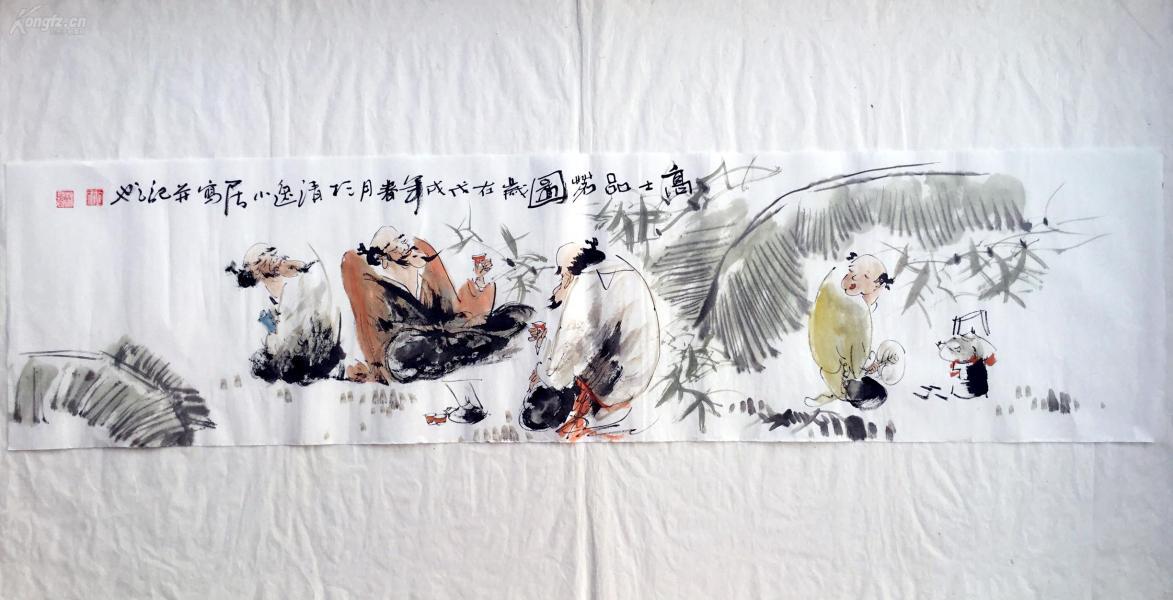 【文人水墨人物畫】--高士品茗圖      書畫真跡