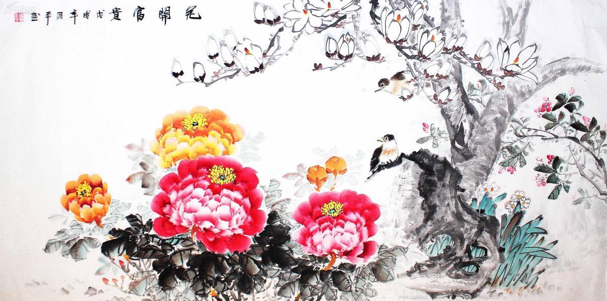 畫家直供  保證手繪  超低直銷  物美價廉 著名畫家 諸葛麗平《花開富貴》