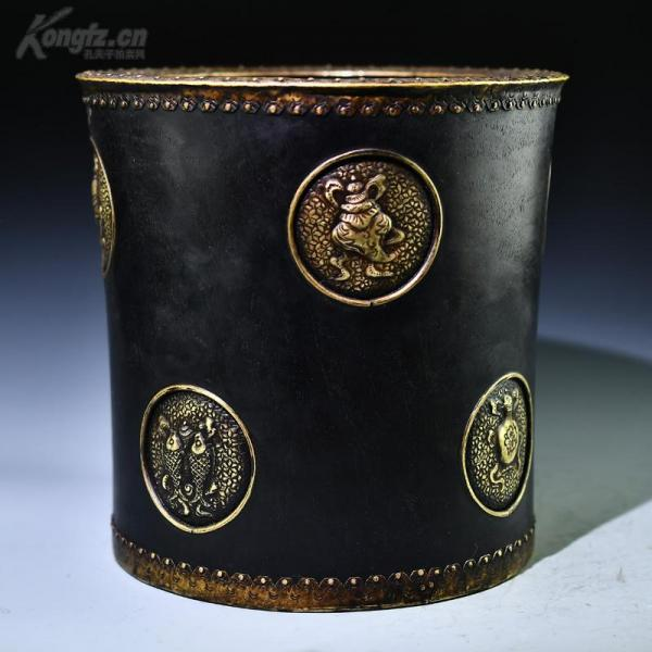 清 光緒紫檀嵌銅八寶圖大號筆筒口徑21厘米 重7斤