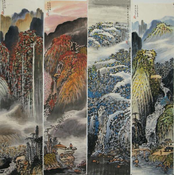 【江爱松】国家一级美术师 北京中联翰墨书画院院委会主席 福建海天书画院名誉院长山水四屏