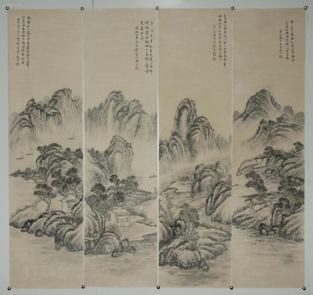 【吳青霞】上海中國畫院畫師 中國美術家協會會員 山水四屏