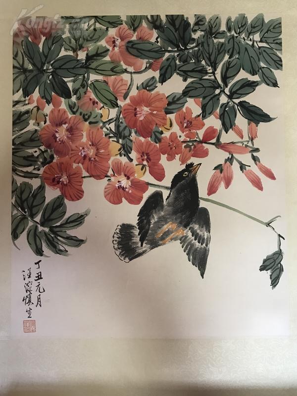 【大豐收藏】 汪慎生 花鳥 保手繪