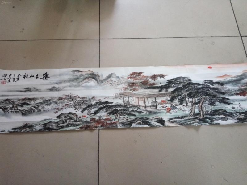 3841宣紙印刷山水畫,四平尺,章款是手寫的