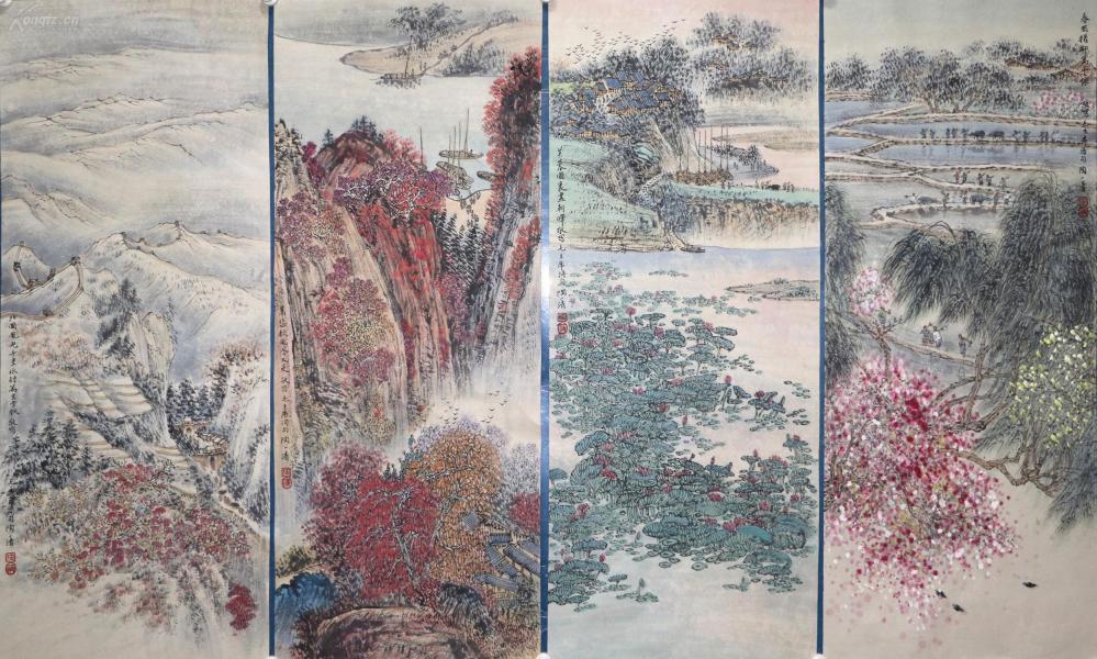 著名國畫藝術家,中央美術學院教授。中國畫研究會副會長 《陶一清》山水四條屏
