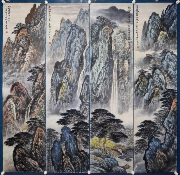 著名国画家 ,上海美协常务理事,上海市书法家协会名誉理事,上海中国画院画师。《应野平》山水四条屏