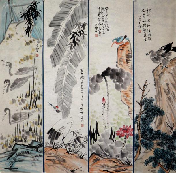 现代书画家、美术教育家,中国近现代大写意花鸟画宗师    李苦禅     花鸟四条屏