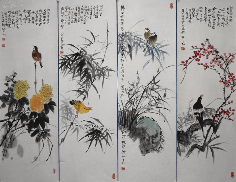 上海書畫研究院院長。上海市美術家協會理事、上海文史館館員。《韓敏》花鳥四條屏