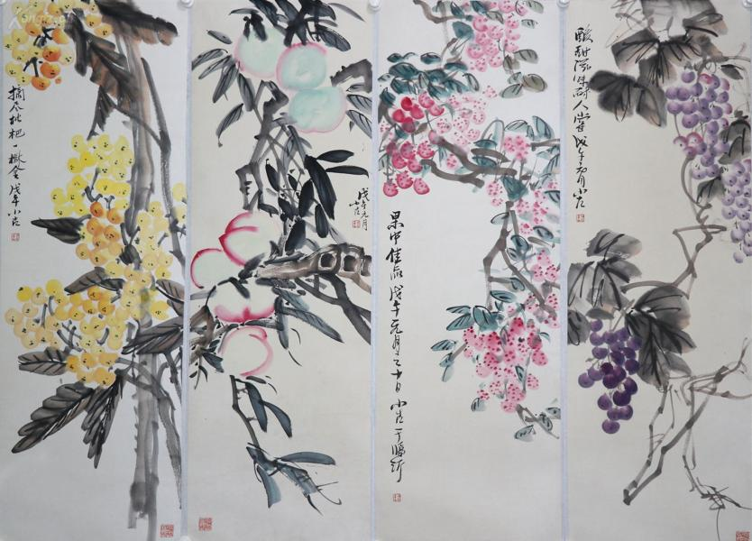 《王小古》中國當代著名花鳥畫家,山東省臨沂教育學院副教授。花卉 四條屏