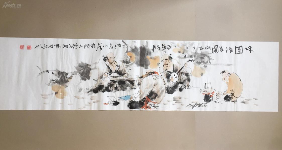 【文人水墨人物画】--秋园清音图      书画真迹