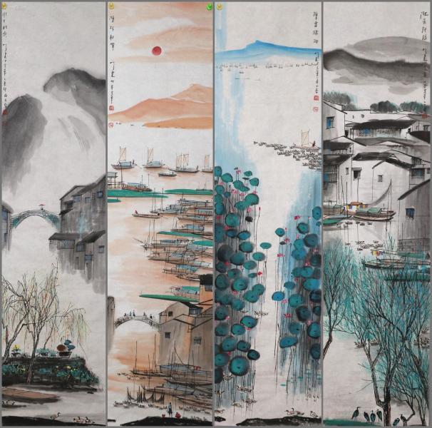 """江苏画家,被称誉为""""发现周庄第一人""""【杨明义】 山水四条屏"""