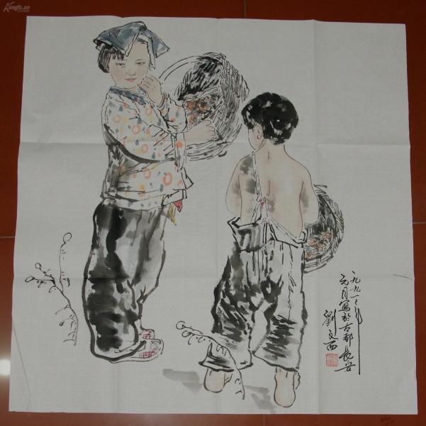 黄土画派艺术研究院院长 中国当代画派联谊会主席 【刘文西】 人物画带书