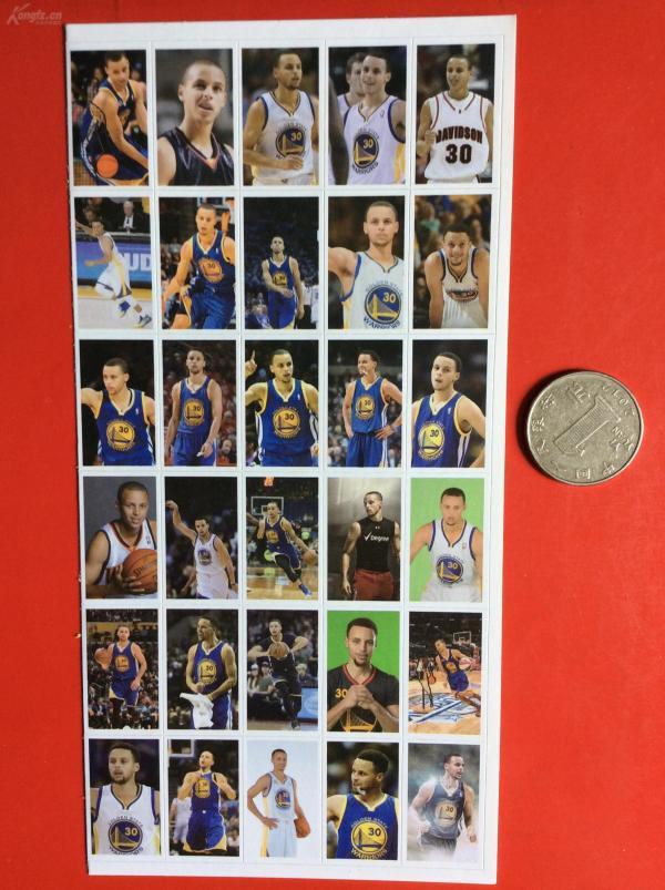 明星貼紙  《籃球巨星  庫里》(一大張,36枚)