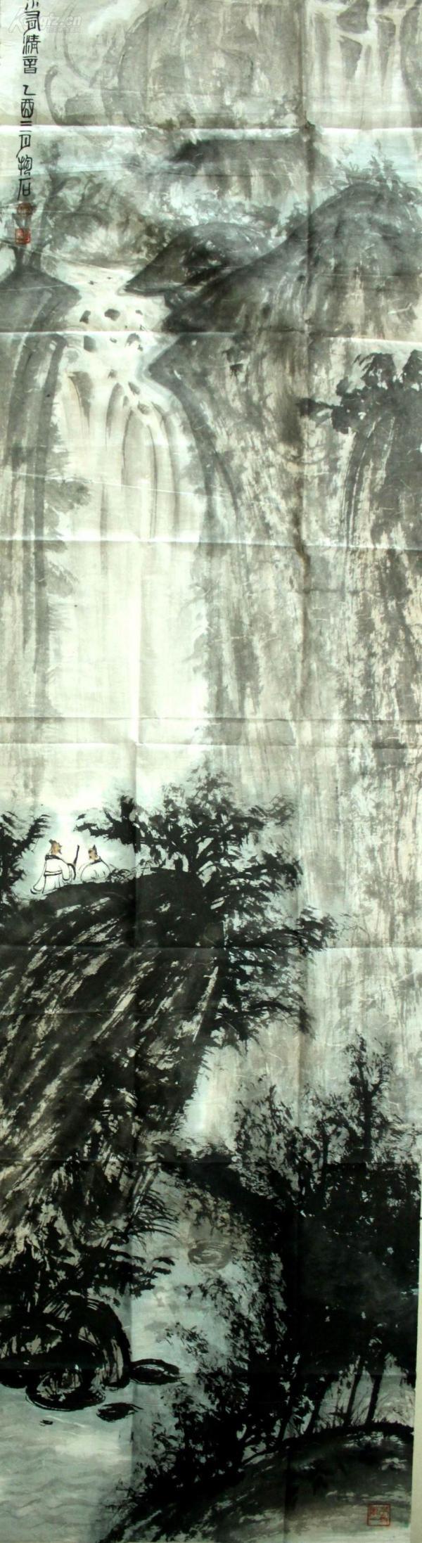 著名畫家--------傅抱石------------專用紙 老畫片《山水有清音》--------100%手繪