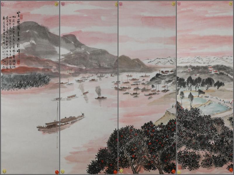 金陵画派一代巨匠【傅抱石】手绘山水通景四条屏