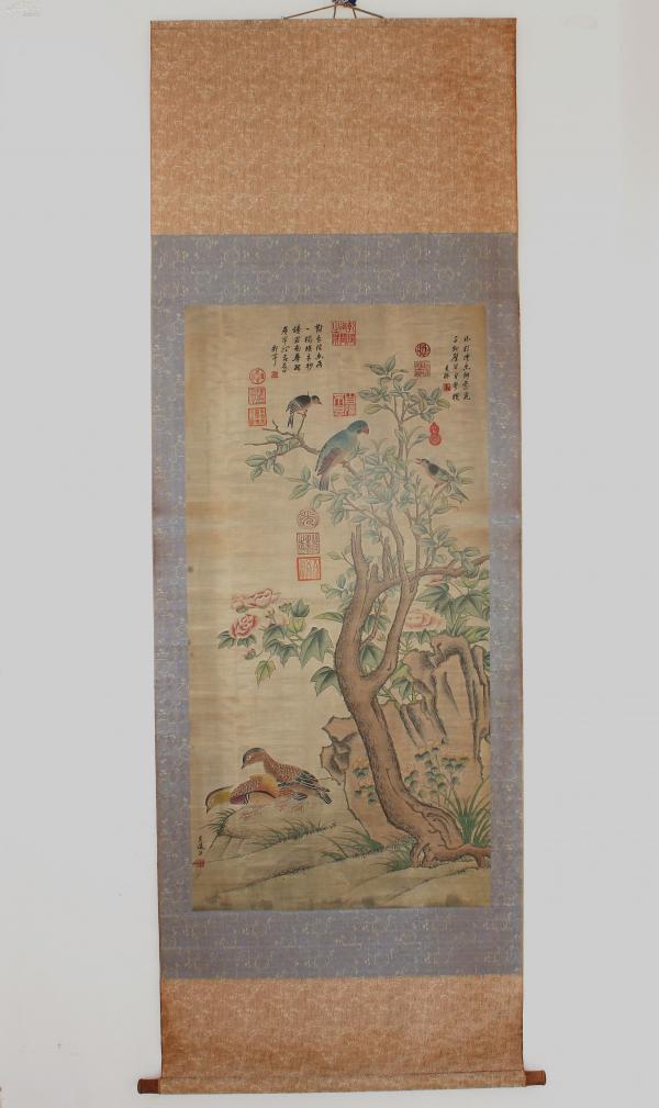 1986年藏于上海 ⒎1平尺  吳道子〔花鳥〕吳振、郎世寧題跋; 其花鳥畫重視觀察體會花鳥的形態習性,所畫翎毛,形象逼真,手法細致工整,色彩富麗典雅''包老手繪作品~