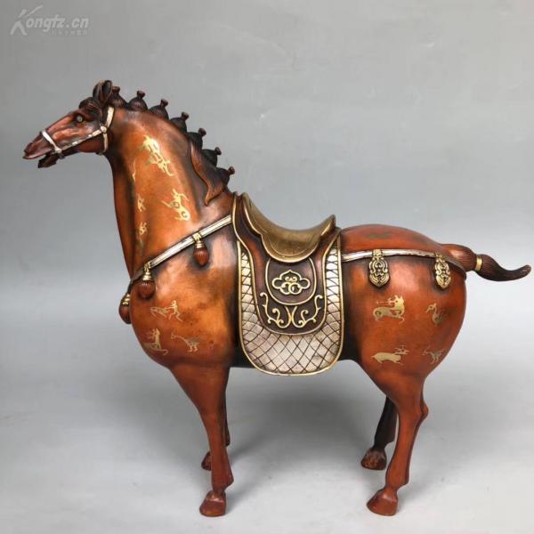 旧藏 老物件  老铜鎏金骏马摆件,重3700克!