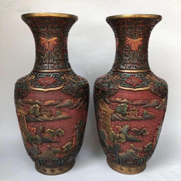 舊藏 彩繪漆器山水花瓶一對。