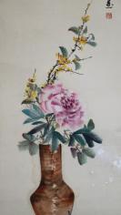 著名的评剧演员,杰出的评剧表演艺术家。  新凤霞   花卉四条屏