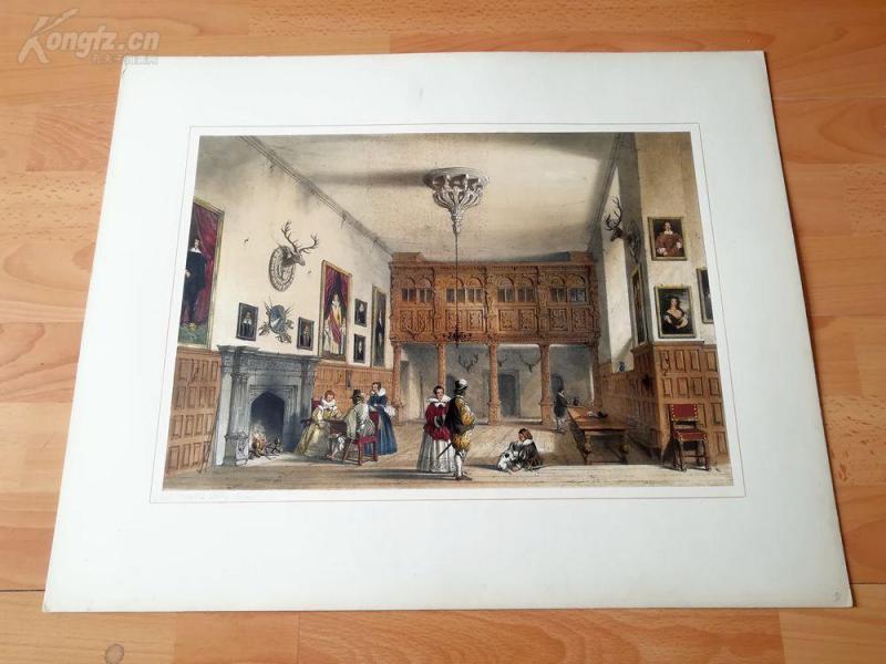 1840年彩色石版画《沃克斯顿大修道院内部,牛津郡 》(Grand Entrance, Hardwicke Hall, Derbyshire)--老英格兰豪宅系列---纸张55.5*45厘米