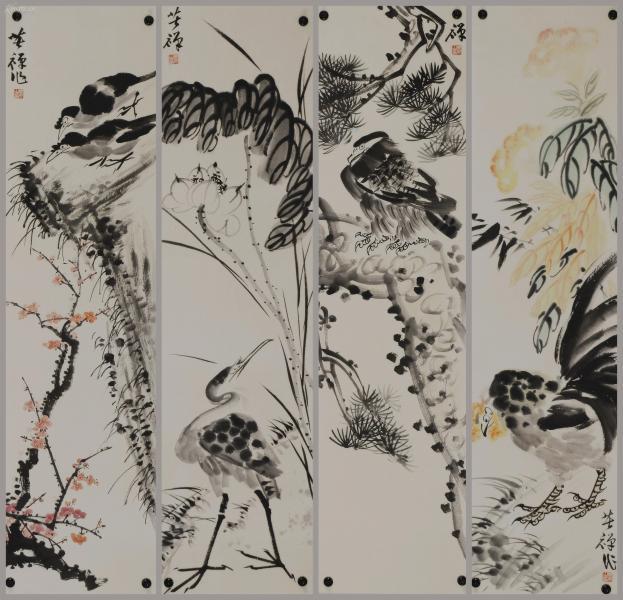 中国当代杰出的大写意花鸟画家、人民的美术教育家 【李苦禅】 花鸟四条屏