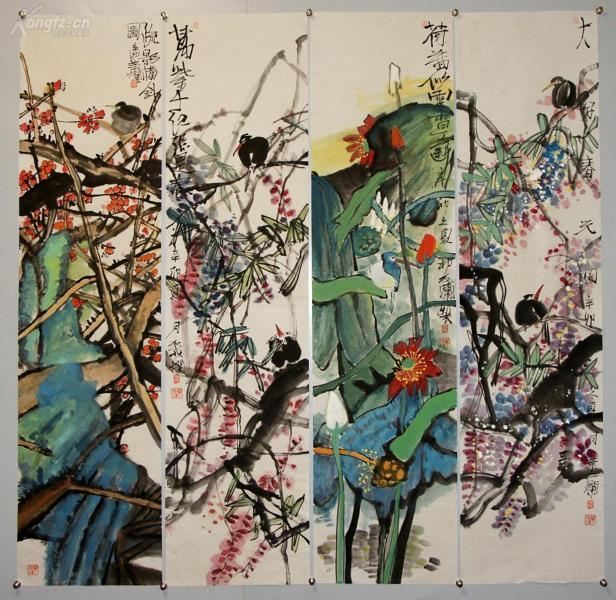 【葉爛】國家一級美術師  現為江蘇省國畫院專職畫家 院藝術委員會委員 花卉四屏
