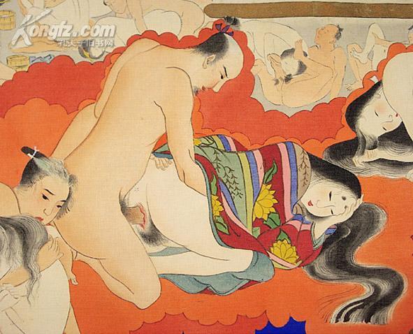 清代日本手绘浮世绘贵族春宫长卷《聚乐第》