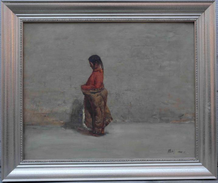 【代友轉讓·永久包真】·中國寫實畫派代表·著名藝術家·張利·油畫《藏族女孩》·布面油畫·1988·畫芯尺寸500mm*400mm·品相完好