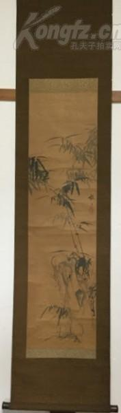 收藏級佳品! 與中林竹洞共同研習臨摹歷代名跡 擅長山水花鳥巨匠 山本梅逸(1783——1856)筆《竹石圖》 紙本本 紅木軸頭 全尺寸163.5X38CM 畫心尺寸99X27CM 作者簡介請瀏覽最后一張圖片